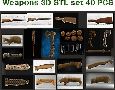 Weapons Decoration Set 40 Pcs 3d Model Relief For Cnc In Stl File Format