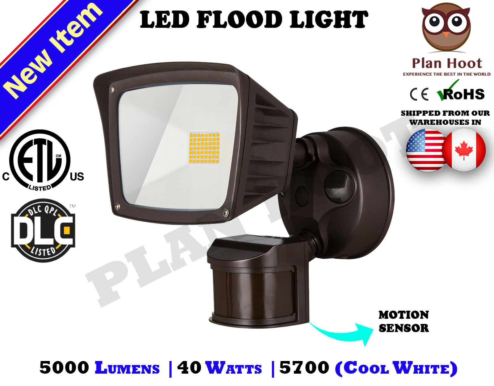 40WT Bronze Motion Sensor Activated ETL DLC LED Flood Outdoo
