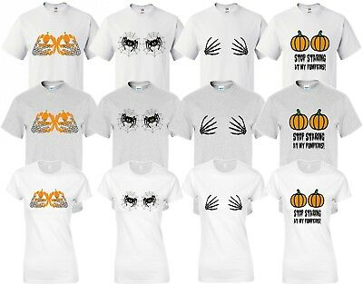 Halloween T Shirt Halloween Boobs T shirts Fancy Dress Costume Spiders Pumpkin - Halloween Boobs