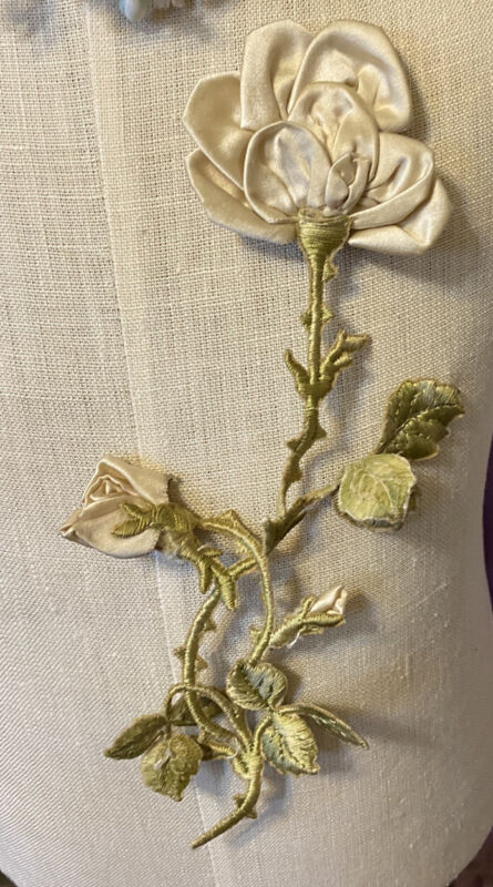 Antique French White Ribbon Roses Satin Stitch Embroidery Embellishment Appliqué