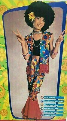Flower Power Kids Costume Hippie Halloween 60's 70's Dress Up Size Small 4-6 NEW