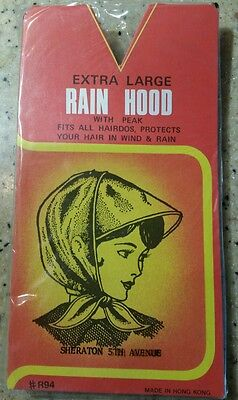A Rain Bonnet Hood large Womens Red or Blue dots with white edging