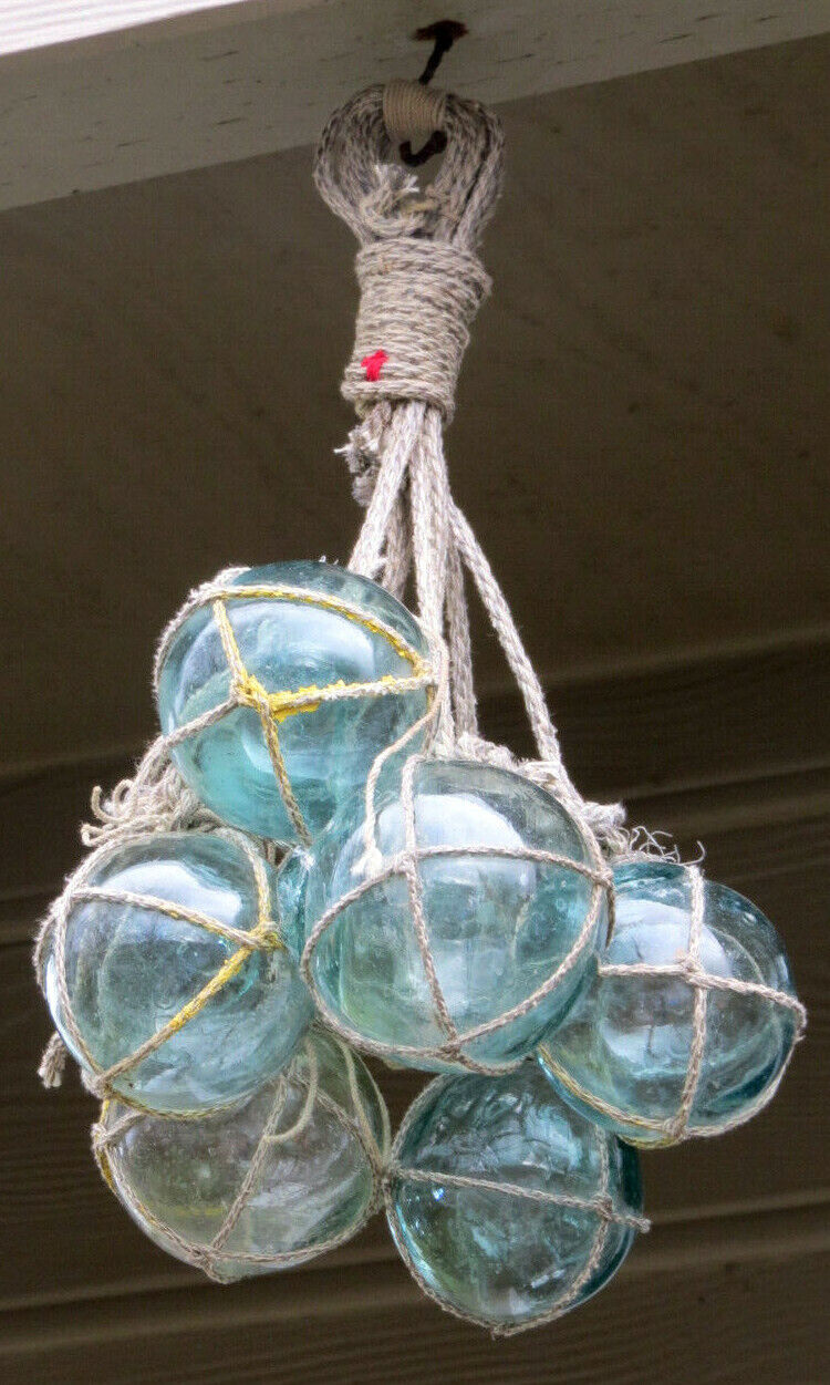 Japanese Fishing Floats (7) Netted Glass Hanging Authentic Pool Tiki Decor