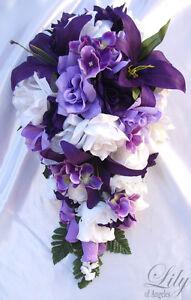 17pcs Wedding Cascade Bridal Bouquet Silk Flower Teardrop PURPLE LAVENDER WHITE
