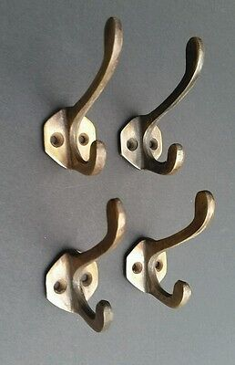 "4 Double Coat Hat Hall Towel Clothes Hooks Solid Brass Ant. Style 2 1/4"" #C3"