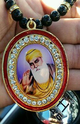 Gold Plated Punjab Sikh Guru Nanak Pendant Car Rear Mirror Hanging Mala   Red