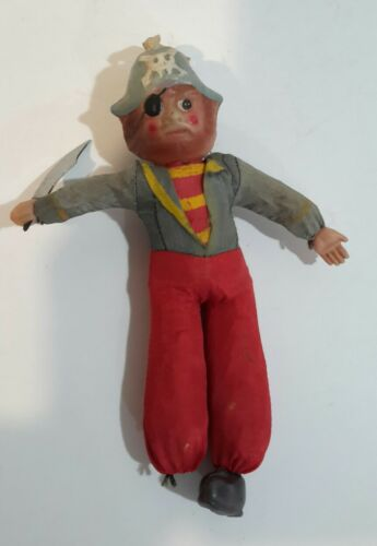 Pirate Doll Toy Celluloid Head Straw Body Made Japan 8 1930-40s - $7.19