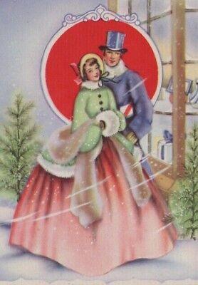 VTG ROMANTIC VICTORIAN COUPLE BLUE SATIN RIBBON CHRISTMAS GREETING CARD