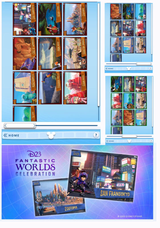 D23 FANTASTIC WORLDS-30 CARD SET-RED/GREEN/BLUE-TOPPS DISNEY COLLECT DIGITAL