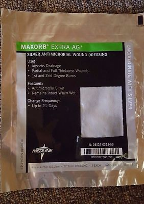 Medline Maxorb Extra Ag  Silver Antimicrobial Wound Dressing  4  X 4 75   5 Each