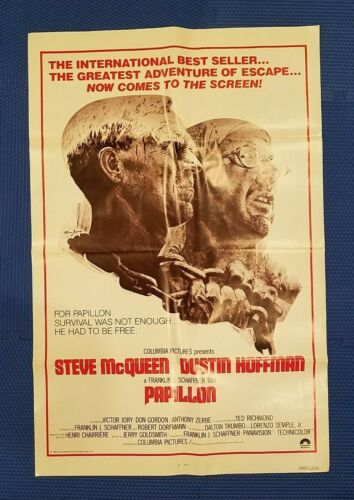 "1973 Original  PAPILLON Movie Poster 27"" x 41"" McQueen & Hoffman (AUTHENTIC)"