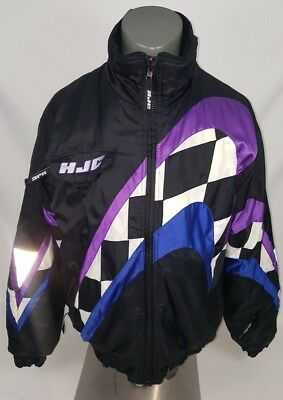 Vtg HJC Mens Racing Jacket Cirolux Snow Gear Heavy Coat 90's Checkered Small Ski
