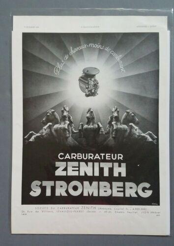 1938 Zenith Stromberg Carburetor Aljonvic Art French Advertising Print Ad