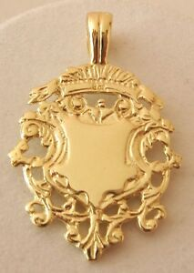 SOLID  9ct  YELLOW  Gold   SHIELD  FOB/Pendant  DOUBLE SIDED