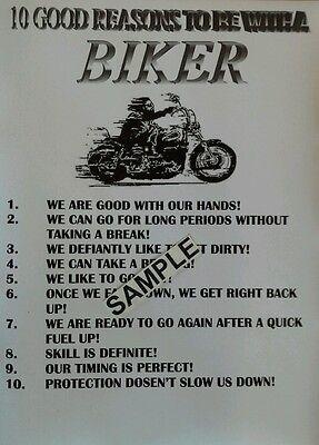 """10 GOOD REASONS TO BE WITH A BIKER"" WALL- GARAGE SIGN / CUSTOM HD CRUISER GIFT"