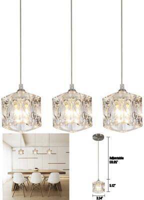 Pendant Lighting Set of 3 Kitchen Fixture Modern Crystal Hanging Ceiling