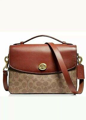 New Coach Cassie 68348 Signature Canvas Tan/Rust/Gold Crossbody Handbag Purse