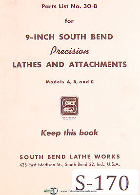 Southbend 9 Model A B C Parts 30-b Lathes Attachments Manual 1947