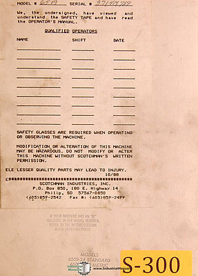 Scotchman 6509-24 24m Standard Metric Ironworker Operation Parts Manual