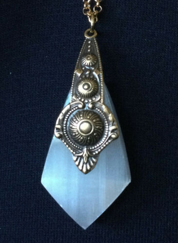 Artisan Necklace Glowing Calcite Crystal & Brass Etruscan Revival Pendant