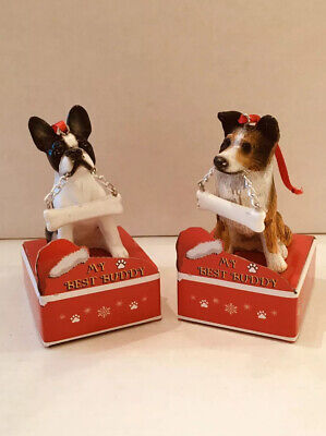 Dog Christmas Ornament Boston Terrier or Sheltie Collie My Best Buddy NEW