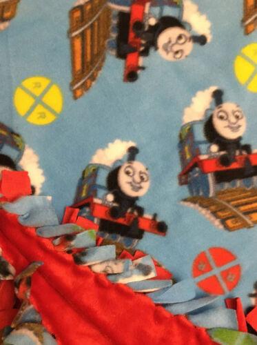 Handmade FLEECE TIE-BLANKET Soft Minky Red Baby Boy THOMAS THE TRAIN 60X50 2 Lyr - $35.99
