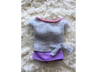 TOP ~ BARBIE DOLL MADE TO MOVE 2018 GRAY PURPLE FAUX TIE YOGA SHIRT CLOTHING