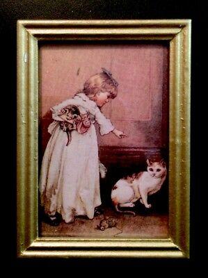GIRL + KITTEN PET CAT VICTORIAN PAINTING DOLLHOUSE MINIATURE FRAMED ART 1:12