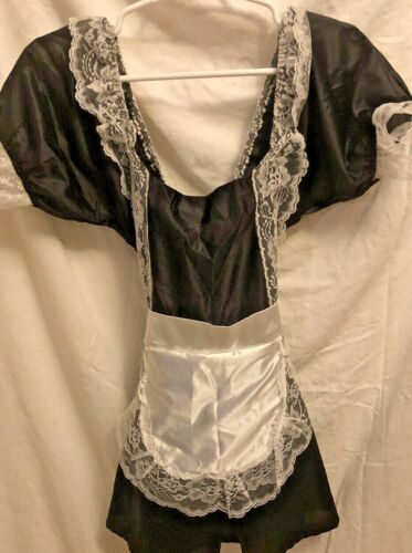 Sexy French Maid Complete Halloween Costume Hat Duster Cuffs Ladies Size Sm/Med