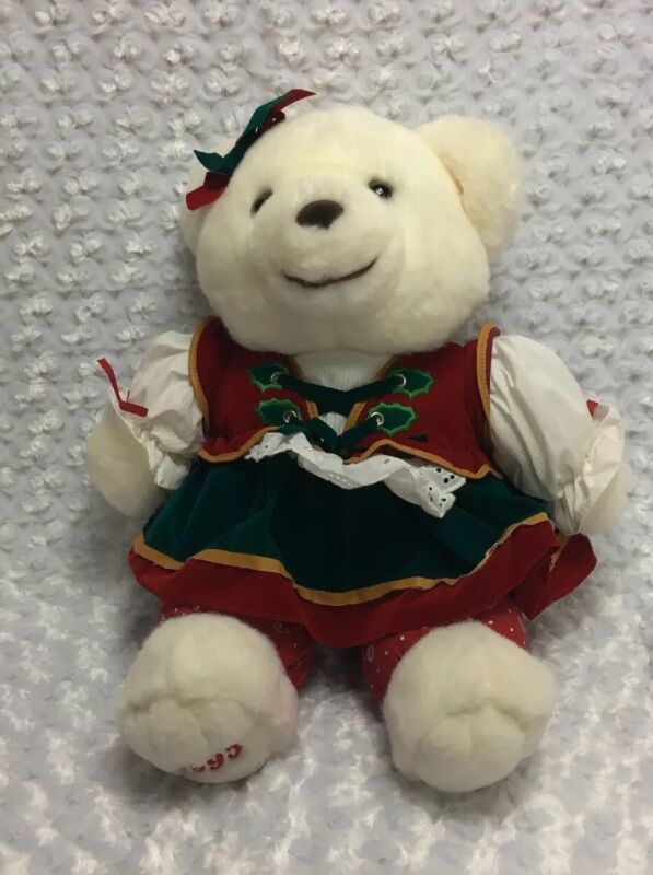 Christmas Bear - 1995 Holiday Collectible Teddy Bear Plush Dress Holly Candy
