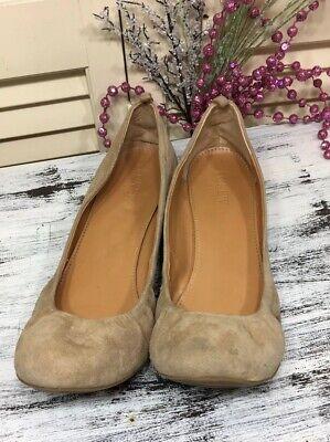 J.Crew Cece Vivid Beige Tan Size 8.5 Ballet  Flats Suede Shoes Made Italy for sale  Houston