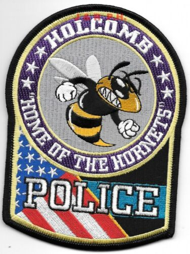 """Holcomb, Missouri  """"Home-Hornets"""" (4"""" x 5.25"""" size) shoulder police patch (fire)"""