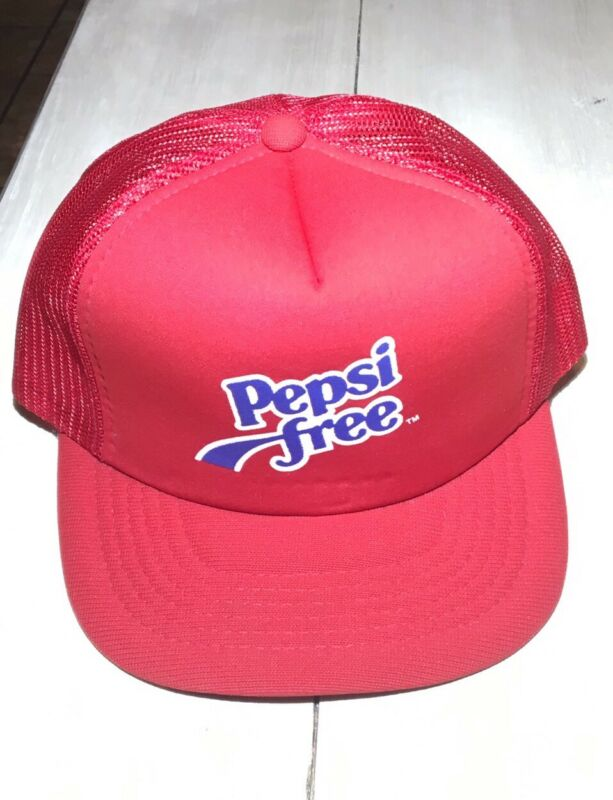 Vintage Pepsi Free Trucker SnapBack Hat Red Cap USA Cola 80