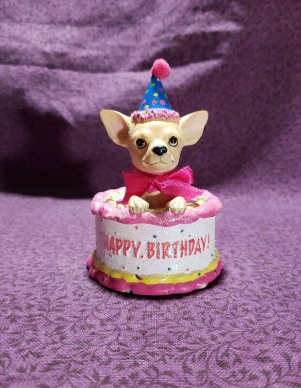 Aye Chihuahua Birthday Cake No.13326 Westland Giftware Figurine