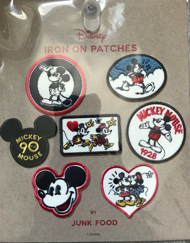 NEW factory sealed 7 Pack Disney Mickey Mouse Iron on Patches  By Junk food