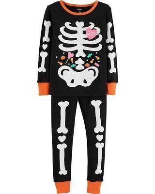 NEW Carter's Girls Halloween Glow in Dark Skeleton PJs NWT 3T 4T 5T 6 7 8 12 14