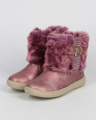 New Girl Jelly Beans Better Metallic Fur Rhinestone Zip Winter Boot