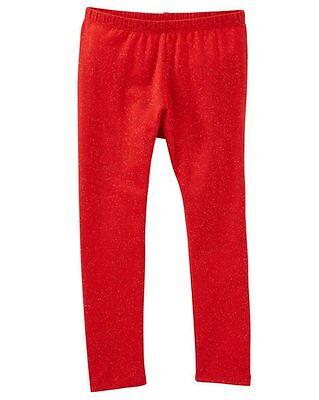 New OshKosh Girls Red Sparkle Stretch Leggings NWT 4T 10 Holiday Glitter - Girls Sparkle Leggings