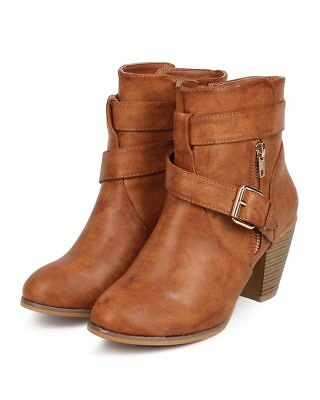 New Women Liliana Laguna-2 Leatherette Round Toe Strappy Zip Ankle Bootie Size