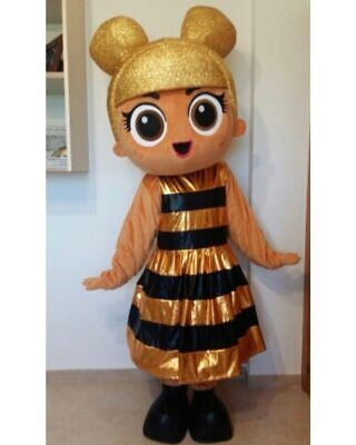 Adult Cartoon Character Gold Doll Mascot Costume Suits Cosplay Dress Halloween ](Cartoon Character Halloween Costumes Adults)