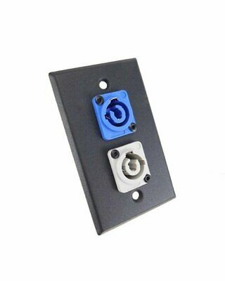 ProCraft Black Wall Plate Power In Blue Power Out Gray Mates W/ Neutrik Powercon - Gray Wall Plate