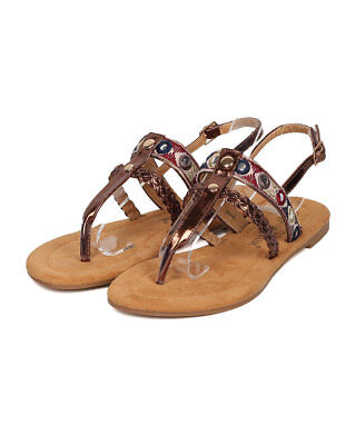 New Women Nature Breeze Dolly02 Mixed Media Tribal T-Strap Slingback Flat Sandal 02 Women Flat Sandals