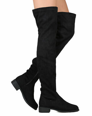 Women's Suede Over The Knee Fashion Boots Low Block Heel Knee High Riding