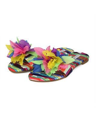 New Women Liliana Carnival 1 3D Flower Decor Open Toe Flat Slide