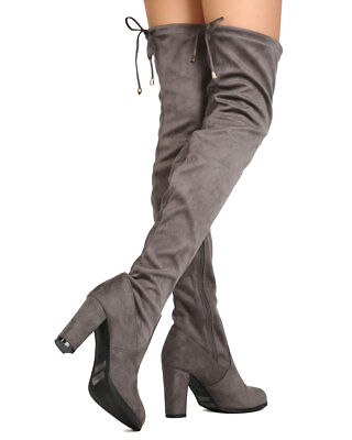 New Women Refresh Honey-01 Faux Suede Thigh High Chunky Heel