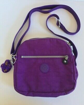 Kipling Keefe Crossbody Handbag Purse Tile Purple Rebecca Monkey