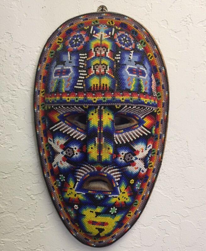"Orig Mexican Wall Mask Huichol Nayarit Bead Folk Art Handcrafted 11.75"" x 6.75"""