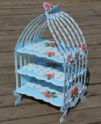 Birdcage Patisserie Cupcake Stand Holder for Tea Party Wedding Reusable Blue