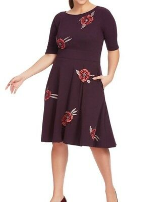 eShakti Floral Embellished Fit And Flare Dress Plum Multi Size 16W](Plum Dresses)