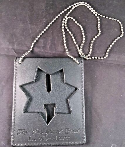 """Recessed Seven Point Star Neck Chain Badge Holder """"Toughest Beat in State"""""""